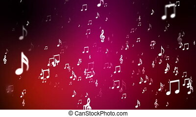 Broadcast Rising Music Notes, Red, Events, Loopable, HD