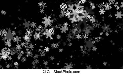 Broadcast Snow Flakes, Grayscale, Events, Loopable, 4K