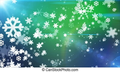 Broadcast Snow Flakes, Green Blue, Events, Loopable, 4K