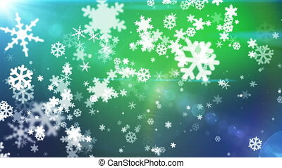 Broadcast Snow Flakes, Green, Events, Loopable, HD