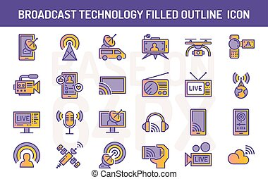 Broadcast technology filled outline icons set. Pixel perfect icon base on 64PX