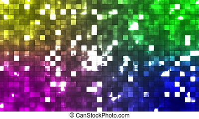 Broadcast Twinkling Firey Light Squares, Multi Color, Abstract, Loopable, HD