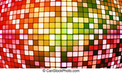 Broadcast Twinkling Hi-Tech Cubes Globe, Multi Color, Abstract, Loopable, HD