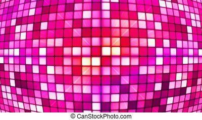 Broadcast Twinkling Hi-Tech Cubes Globe, Red Magenta, Abstract, Loopable, 4K
