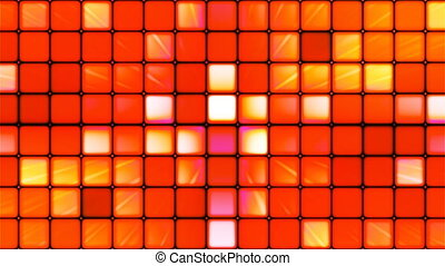 Broadcast Twinkling Hi-Tech Cubes, Red Orange, Abstract, Loopable, 4K