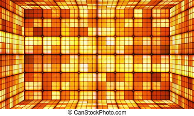 Broadcast Twinkling Hi-Tech Cubes Room, Orange, Abstract, Loopable, HD