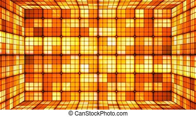 Broadcast Twinkling Hi-Tech Cubes Room, Orange Golden, Abstract, Loopable, 4K