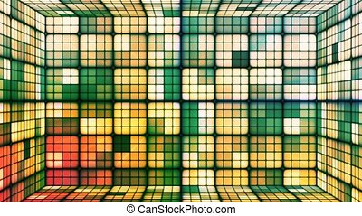 Broadcast Twinkling Hi-Tech Cubes Room, Orange Green, Abstract, Loopable, 4K