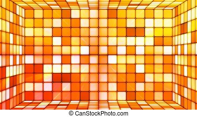 Broadcast Twinkling Hi-Tech Cubes Room, Orange Red, Abstract, Loopable, 4K