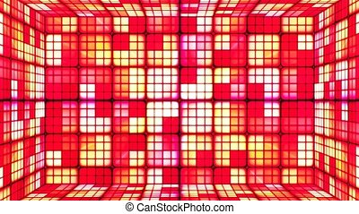Broadcast Twinkling Hi-Tech Cubes Room, Red Yellow, Abstract, Loopable, 4K