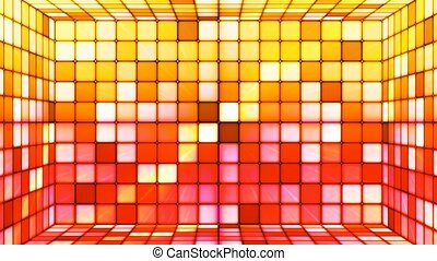 Broadcast Twinkling Hi-Tech Cubes Room, Yellow Red, Abstract, Loopable, 4K