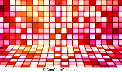 Broadcast Twinkling Hi-Tech Cubes Stage, Red, Abstract, Loopable, HD