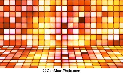 Broadcast Twinkling Hi-Tech Cubes Stage, Golden Orange, Abstract, Loopable, 4K