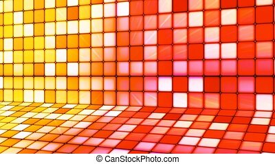 Broadcast Twinkling Hi-Tech Cubes Stage, Red Yellow, Abstract, Loopable, 4K