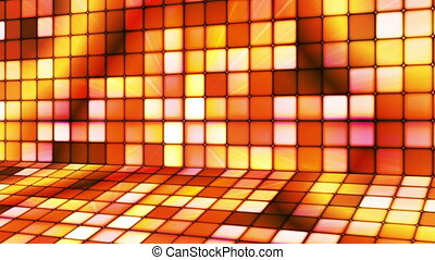 Broadcast Twinkling Hi-Tech Cubes Stage, Orange, Abstract, Loopable, HD