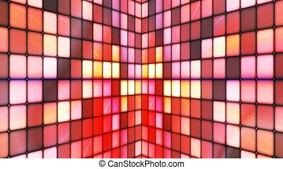 Broadcast Twinkling Hi-Tech Cubes Walls, Red, Abstract, Loopable, 4K