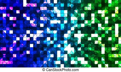 Broadcast Twinkling Hi-Tech Squares, Blue Green, Abstract, Loopable, 4K