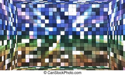 Broadcast Twinkling Hi-Tech Squares Room, Blue Green, Abstract, Loopable, 4K