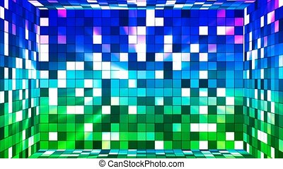 Broadcast Twinkling Hi-Tech Squares Room, Green Blue, Abstract, Loopable, 4K