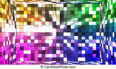 Broadcast Twinkling Hi-Tech Squares Room, Multi Color, Abstract, Loopable, 4K