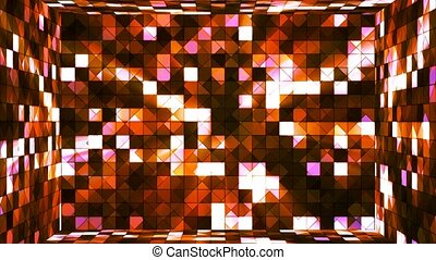 Broadcast Twinkling Hi-Tech Squares Room, Orange, Abstract, Loopable, 4K