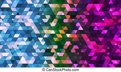 Broadcast Twinkling Polygon Hi-Tech Triangles, Multi Color, Abstract, Loopable, 4K
