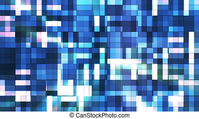 Broadcast Twinkling Squared Hi-Tech Blocks, Blue, Abstract, Loopable, HD