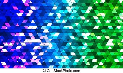 Broadcast Twinkling Squared Hi-Tech Triangles, Blue Green, Abstract, Loopable, 4K