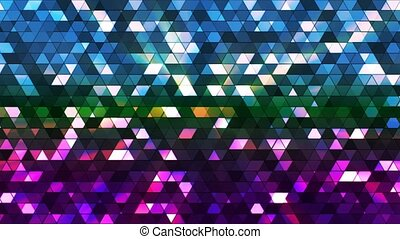 Broadcast Twinkling Squared Hi-Tech Triangles, Multi Color, Abstract, Loopable, 4K