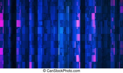 Broadcast Twinkling Vertical Hi-Tech Bars, Blue, Abstract, Loopable, HD
