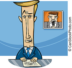broadcaster on television cartoon