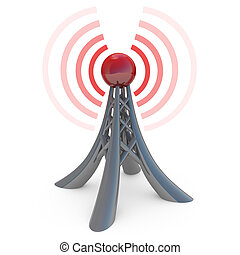 Broadcasting - 3d tower broadcasting a wireless signal.