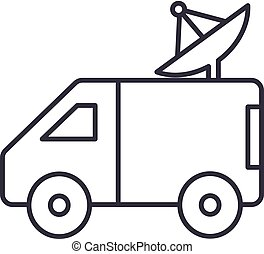 broadcasting car with satellite dish vector line icon, sign, illustration on background, editable strokes