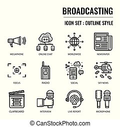 Broadcasting, pixel perfect icon, isolated on white ...