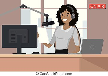 Broadcasting radio host speaks into the microphone on the air