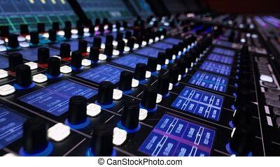 Broadcasting television Panel. Big Audio Mixing Board. Motion Camera. video contains vibration. Professional digital audio channel mixer
