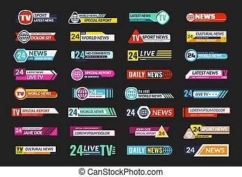 Broadcasting TV banner set. News television screen header, square horizontal internet broadcast interface, modern mass media template, stripe streaming emblem design flat vector set