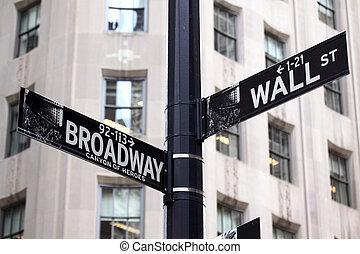 broadway, és, wall street, cégtábla
