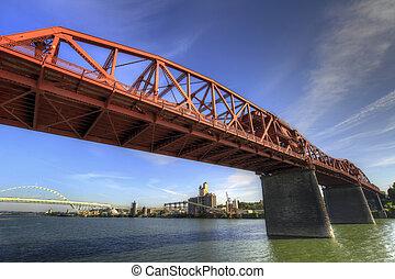 broadway, 上に, 川, willamette, 橋