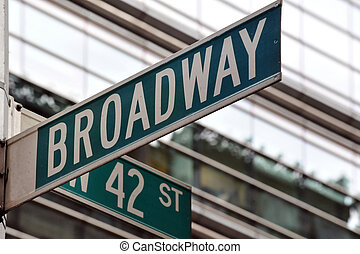 Broadway 42nd street sign - Street sign on the corner of...