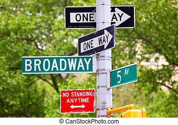 broadway, 5, een, straat, weg, Tekens & Borden, Laan