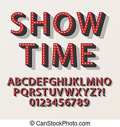 broadway, alfabet, retro, takty muzyczne