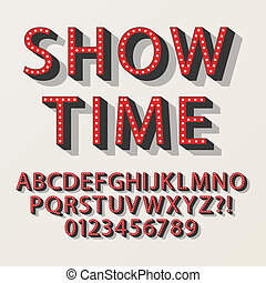 broadway, alfabeto, retro, números