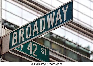 broadway, calle, 42, señal