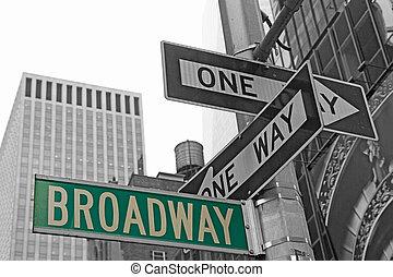 broadway, calle, nyc., señales