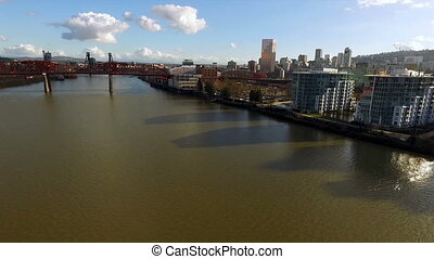 Broadway Draw Bridge Willamette River Portland Oregon...