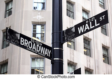 broadway, en, wall street, tekens & borden