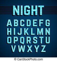 Broadway lights style light bulb alphabet