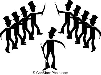 broadway, linea, maschio, dancers..., bastone