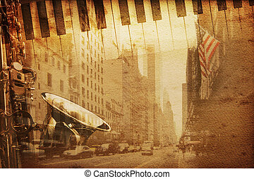 Broadway music - old historical new york background with...